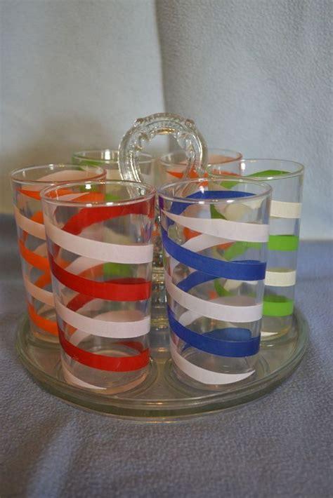 Kitchen Juice Glasses by Swanky Swig Spiral Striped Juice Glasses Vintage