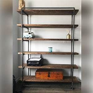 60, In, Industrial, Pipe, Shelving, Unit, With, 5, Wood, Shelves