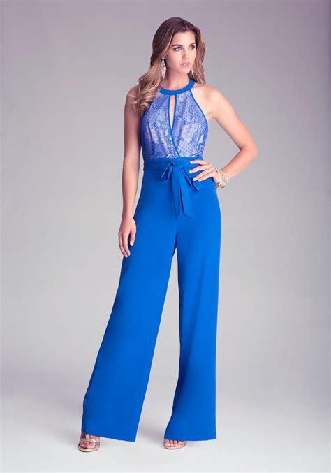 blue jumpsuits bebe lace bodice wide leg jumpsuit in blue lyst