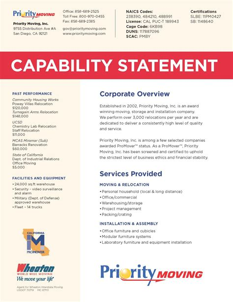 capability statement san diego movers word template