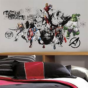 New Giant AVENGERS ASSEMBLE BLACK & WHITE WALL DECALS ...