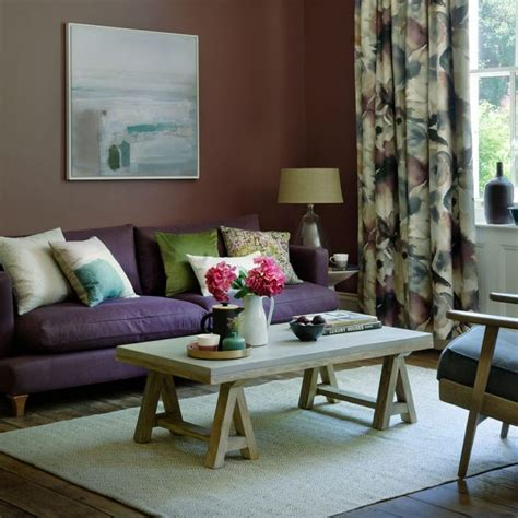 Living Room With Purple Sofa by Country Living Room Pictures Ideal Home