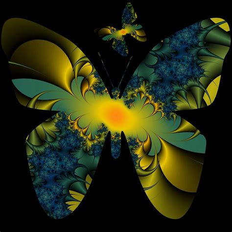 thistle fractal butterfly digital by leigh