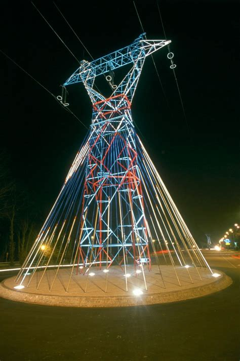 these sculptures support power lines with style
