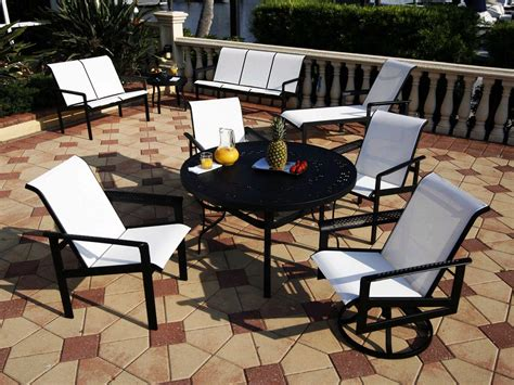 suncoast south sling cast aluminum dining set southcl