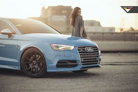 sky blue audi  sedan  vorsteiner  ff  wheels