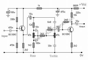 baxandall tone control using two transistors circuit With tone circuit