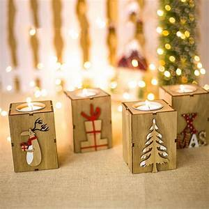 Christmas, Decor, Candle, Holder, Tealight, Table, Centerpiece, Cylinder, Wood, Candle, Holder, Candlestick