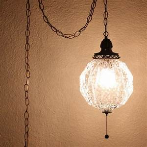 Vintage hanging light lamp glass globe chain