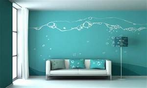 Blue wall painting design ideas for living room for Cool wall paint designs for living room