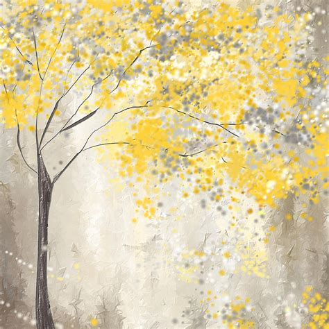 shower curtain green yellow and gray tree painting by lourry legarde