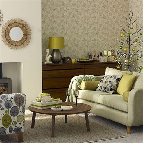 Dark Brown Couch Decorating Ideas by Olive Green Christmas Living Room Decorating