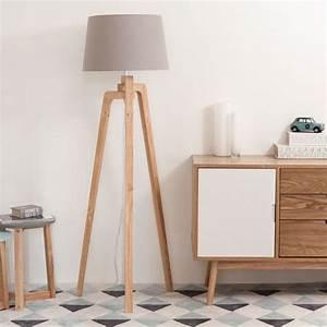 Lampadaire Maison Du Monde : lampadaire tr pied en bois et coton nordic maisons du ~ Premium-room.com Idées de Décoration