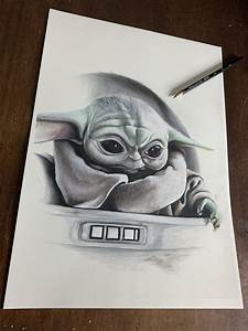 baby yoda limited edition drawing by wil shrike wil