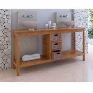 meuble de salle de bain teck kuta 3 tiroirs With meuble bain teck