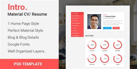 intro material cv portfolio resume psd template by