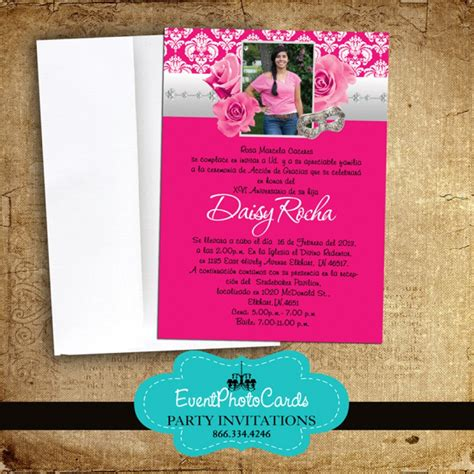 pink roses quinceanera invitations announcements