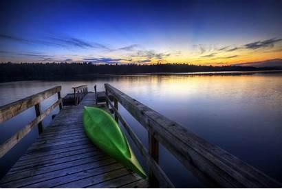Dock Lake Wallpapers Kayak Sunset Desktop Pier