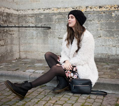 outfit fluffy coat floral dress  dr martens  styling dutchman