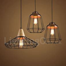 Country Dining Room Metal Wooden Pendant Light For Living