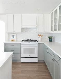 kitchen with white top cabinets and gray bottom cabinets With best brand of paint for kitchen cabinets with box signs wall art