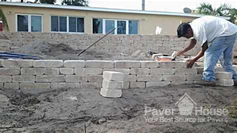 retaining wall installation paver house with brick