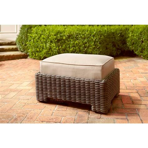 brown northshore patio ottoman with harvest cushion