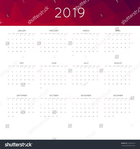 calendar year simple style abstract stock vector