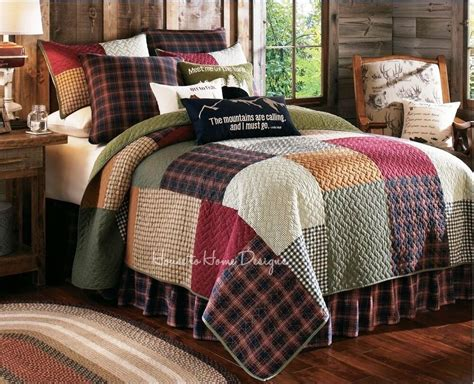 Cabin Bedding by Gibson Lake Plaid Quilt Set Lodge Log Cabin