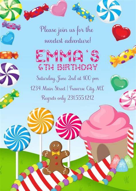 candyland invitation girls birthday invitations candyland