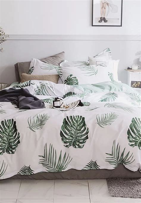 shop aurora prints tropical leaf bedding set king