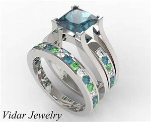 multicolor bridal ring set with white blue green With colored diamond wedding ring sets
