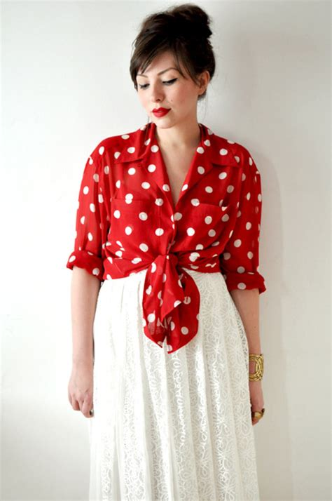 vintage  red  white polka dot blouse  bow