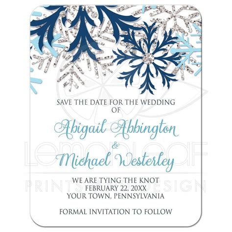 Save the Date Cards Winter Snowflake Blue Silver