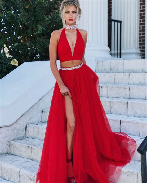 Red Evening Gowns,two Piece Prom Dress,high Neck Prom