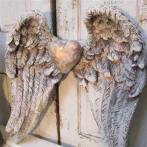 Angel wings wall decor shabby cottage white gray distressed