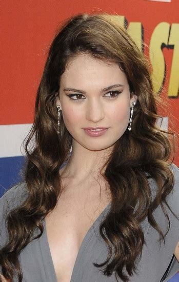 hairstyles lily james long wavy hairstyle