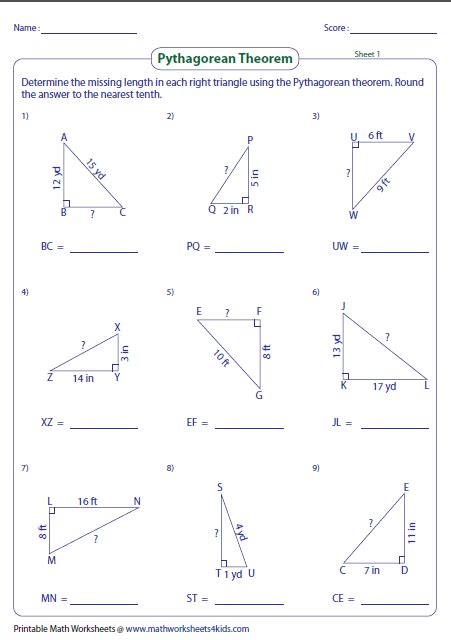 pythagorean theorem worksheet business mentor