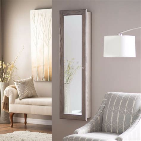 Wall Mount Jewelry Mirror Armoire by Wall Mounted Jewelry Armoire Mirror Rustic Gray Large