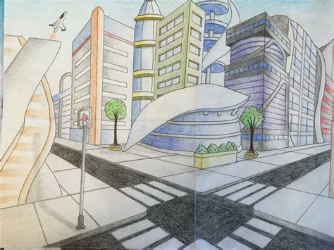 point perspective futuristic city drawing jennifer chen
