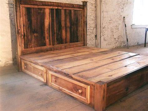 buy hand crafted reclaimed rustic pine platform bed  headboard   drawers   order