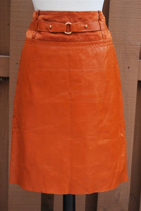 Vintage Belted Burnt Orange Leather Skirt. | MINE. | Pinterest | Skirts Orange leather and Vintage