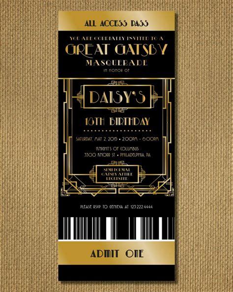 printable great gatsby birthday invitation