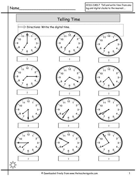 telling time worksheets   teachers guide