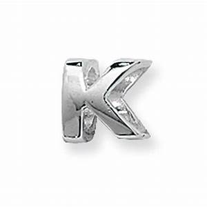 sterling silver letter k bead With silver letter k