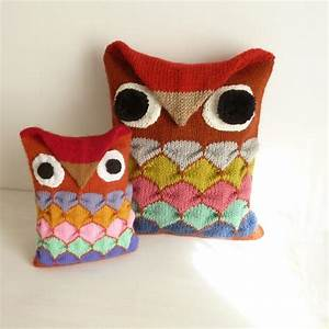 OWl pillow Knit decorative toy by bySol - Craftsy