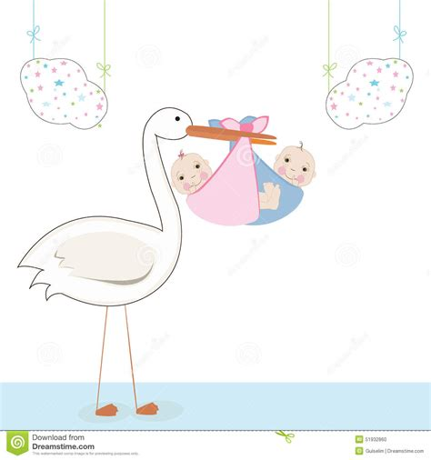 twin baby  stork baby arrival card vector stock