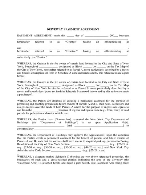 Driveway Easement Agreement Form - 4 Free Templates in PDF