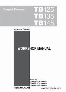 Takeuchi Tb125 Tb135 Tb145 Excavator Workshop Manual Pdf