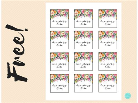 floral   tags love grows  printabell